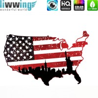 Wandsticker - No. 4622 Wandtattoo Sticker Wohnzimmer Flagge USA Amerika Landkarte New York Stars and Stripes