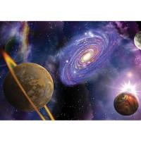 Fototapete Sternenhimmel Tapete Weltraum Weltall Galaxie Planeten Erde Staurn Sterne lila | no. 905