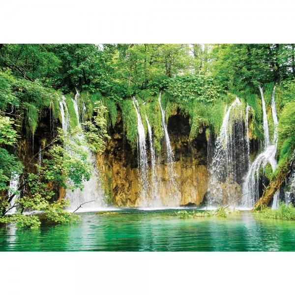 Fototapete Natur Tapete Wasserfall See Bäume Blätter grün   no. 1617