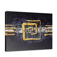 Leinwandbild Abstrakt Ornament Gelb Schwarz Hindergrund | no. 219