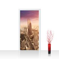 Türtapete - Shanghai Sunset Skyline Skyline Shanhai Wolkenkratzer Hochhäuser | no. 50