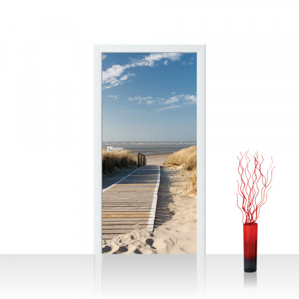 Türtapete - North Sea Dunes Strand Meer Ostsee Beach Blau Himmel Sonne Sommer   no. 38