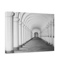 Leinwandbild Arkaden 3D Perspektive Gewölbe Säulen Steinwand | no. 224