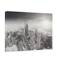 Leinwandbild Black and White Shanghai Sunset Skyline Skyline Shanhai Wolkenkratzer | no. 49