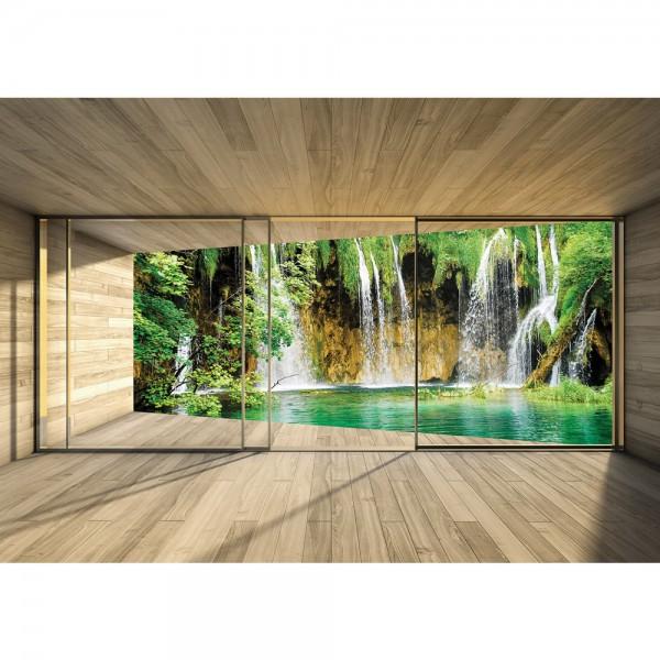 Fototapete Natur Tapete Wasserfall Holzoptik Rahmen grün | no. 1532
