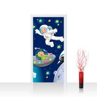 Türtapete - Little Space Explorers Weltraum Star Weltall Kosmonaut Mond Sterne | no. 89