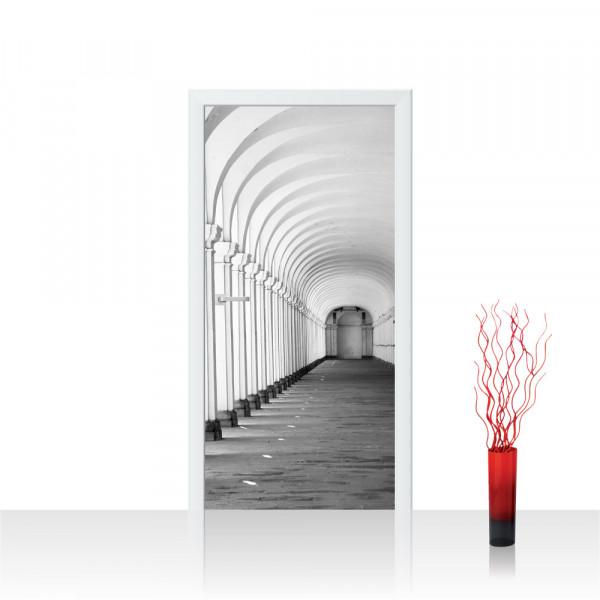 Türtapete - Arkaden 3D Perspektive Gewölbe Säulen Steinwand   no. 224