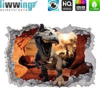 Wandsticker - No. 4769 Wandtattoo Sticker Durchblick Durchbruch Aussicht Dinosaurier Dinos TRex