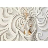 Fototapete A Perfect Woman Gemälde Tapete Frau Erotik Gold elegant 3D Wand beige | no. 45