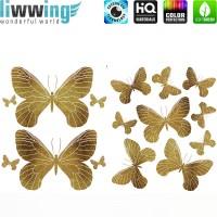 Wandsticker - No. 4733 Wandtattoo Sticker Schmetterlinge Tiere Falter Glitzer gold Glitter