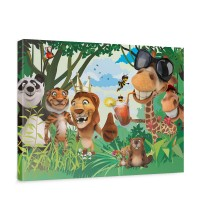 Leinwandbild Jungle Animals Party II Zoo Tiere Safari Comic Party Dschungel | no. 87