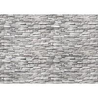Fototapete Noble Stone Wall - grau - kleinere Steine - anreihbare Tapete Steinwand Steinoptik Wand grau | no. 144