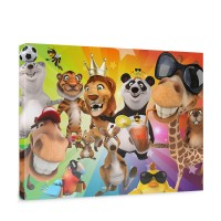 Leinwandbild Safari Party Animals Zoo Tiere Safari Comic Party Dschungel | no. 88