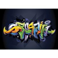 Fototapete Graffiti Tapete Kindertapete Graffiti Malerei bunt Muster Schrift grün | no. 409