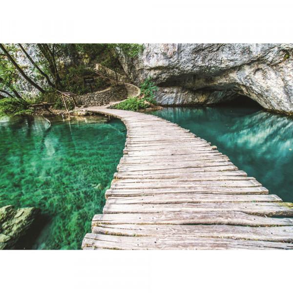 Fototapete Meer Tapete Wasser Steg Felsen Paradies blau | no. 2731