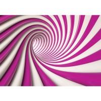 Fototapete Kunst Tapete Abstrakt Tunnel Streifen Illusionen pink   no. 593
