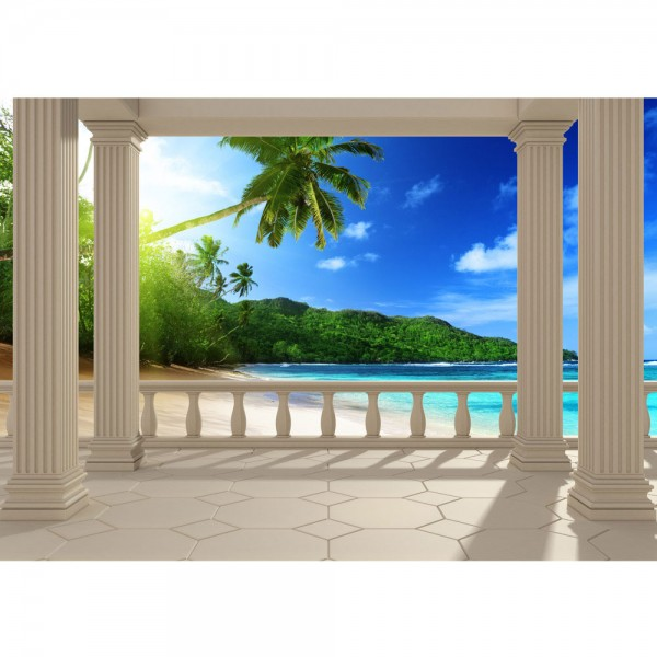 Fototapete Terrace View Caribbean Meer Tapete Ausblick Terrasse 3D Strand Beach Meer Sonne Palmen blau | no. 121