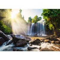 Fototapete Natur Tapete Wasserfall Bäume Natur Sonne Steine bunt | no. 259