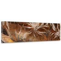Leinwandbild Grunge Floral Ornaments abstrakt 3D Wand braun Blumen alt deko | no. 57