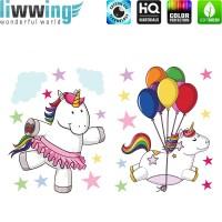 Wandsticker - No. 4784 Wandtattoo Sticker Einhorn Unicorn Pony Ballons Sterne Regenbogen