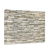 Leinwandbild Noble Stone Wall - beige Steinoptik Steinwand Stonewall Steine | no. 134