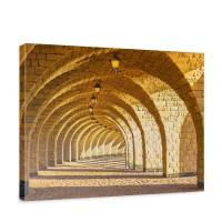 Leinwandbild Arched Stone Colonnades Arkaden 3D Gewölbe Säulen Sandstein Steinwand | no. 66