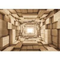 Fototapete 3D Tapete Abstrakt Holz Kasten Kisten Rechteck Tunnel 3D braun | no. 944