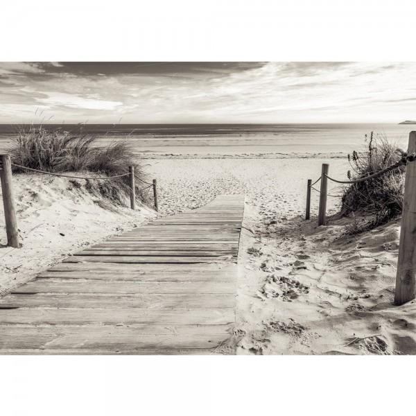 Fototapete Strand Tapete Meer Steg Wasser schwarz - weiß | no. 3085