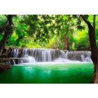 Fototapete Deep Forest Waterfalls Natur Tapete Wasserfall Bäume Wald Thailand See Wasser Meer grün | no. 67