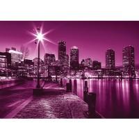 Fototapete New York Tapete Laterne Nacht Skyline Lichter Fluss lila   no. 857