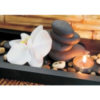 Fototapete Wellness Tapete Steine Kerze Orchidee Relax Wellness. Romantik Bad Orange Bambus orange | no. 279