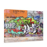Leinwandbild Graffiti Stone Wall Kinderzimmer Graffiti Streetart Graffitti 3D | no. 32