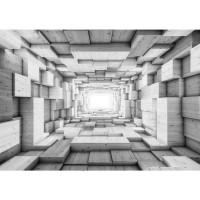 Fototapete 3D Tapete Kunst Kisten Holz Tunnel Licht Rechtecke 3D Optik grau | no. 1401