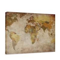Leinwandbild Vintage Atlas Weltkarte Atlanten Karte alte Karte alter Atlas | no. 29