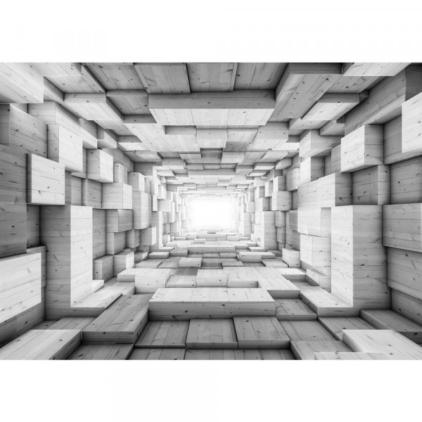 Fototapete 3D Tapete Kunst Kisten Holz Tunnel Licht Rechtecke 3D Optik grau   no. 1401