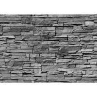 Fototapete Asian Stone Wall - anthrazit anreihbare Tapete Steinwand Steinoptik Steine Wand Wall grau | no. 126