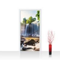Türtapete - Wasserfall Bäume Natur Sonne Steine | no. 259