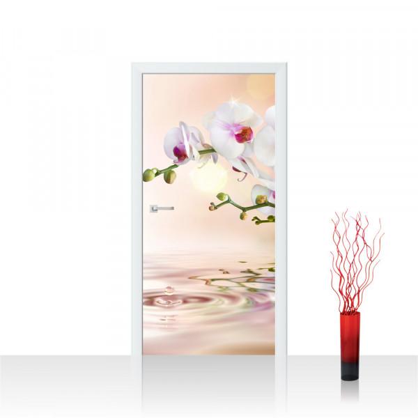 Türtapete - Orchidee Blumen Blumenranke Weiß Pink Natur Pflanzen Abstrakt   no. 200