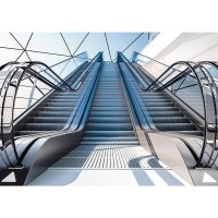 Fototapete 3D Tapete Illustration 3D Rolltreppe grau | no. 1803