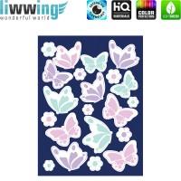 Wandsticker - No. 4818 Wandtattoo Sticker Leuchtsticker Fluoreszierend Neon Schmetterlinge