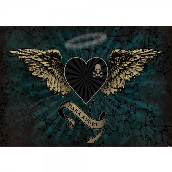 Fototapete Illustrationen Tapete Alchemy Dark Angel Flügel Totenkopf Dark Angel Herz grün | no. 709