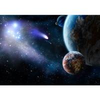 Fototapete Welt Tapete Erde Weltraum Planet Meteoriten Blau blau | no. 232