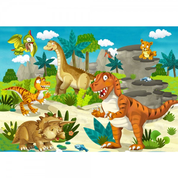 Fototapete My first Dinos Kindertapete Tapete Kindertapete Kinderzimmer Dino Dinosaurier Urzeit Trex bunt | no. 119