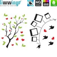 Wandsticker - No. 4829 Wandtattoo Sticker Baum Blätter Vögel bunt