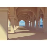 Fototapete Romantic Arcade Architektur Tapete Romantic 3D Perspektive Säulengang Arkade beige | no. 69
