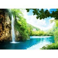 Fototapete Waterfall in Paradise Berge Tapete Wasserfall Lagune Paradies Berge See Wald Bäume Landschaft grün | no. 35