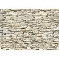 Fototapete Noble Stone Wall - beige - kleinere Steine - anreihbare Tapete Steinwand Steinoptik Wand grau | no. 146