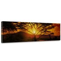 Leinwandbild African Sunset Sonnenaufgang Arfika Steppe Giraffe Organge Safari | no. 59