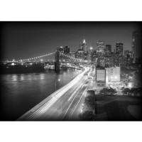 Fototapete Skylines Tapete Skyline Straße New York Lightning Nacht Brücke Promenade grau | no. 553