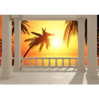 Fototapete View Romantic Sunset Meer Tapete Sonnenaufgang Meer Strand Terrasse orange | no. 123